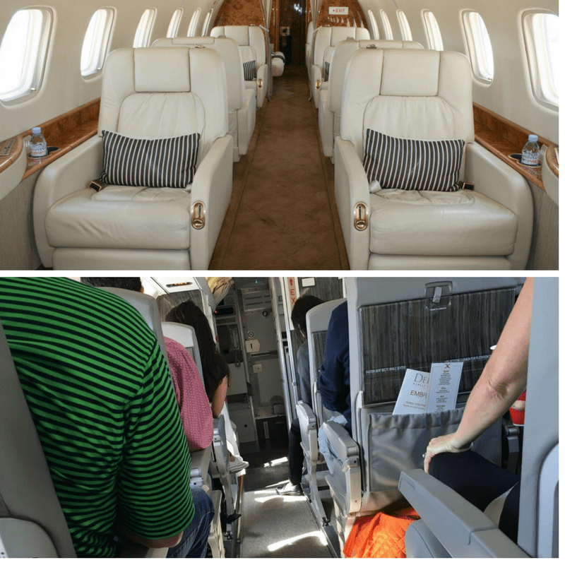 private jet shuttle service airplane interior
