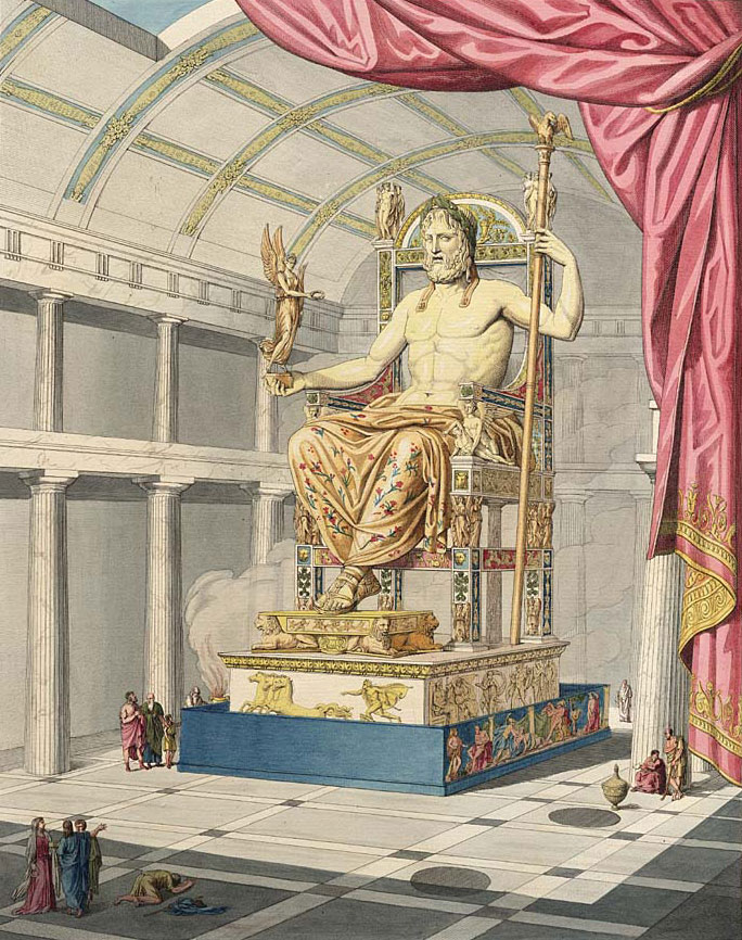statue of zeus at olympia by private jet